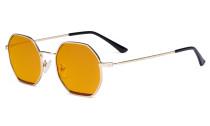 Damen Blaulicht Schutzbrille mit Orange getöntem Filter Gläser- Polygon Design Brille für Damen Computerbildschirm UV-Strahlen schutz - Blendschutzfilter Reduzieren  Augenbelastung Gold Rot - LX19026-BB98