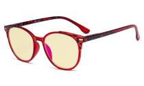 Damen Blaulicht Schutzbrille - mit Gelber Filtergläser - Übergroße Retro Runden Computer Brille Rot - TM9002D