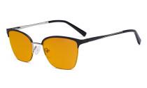 Damen Blaulicht Schutzbrille Halbrand Design mit Orange getöntem Filter Gläser - Cateye Brillen für Damen Computerbildschirm UV-Strahlenschutz - Blendschutzfilter Reduzieren die Augenbelastung Schwarz - LX19028-BB98