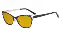 Damen Blaulicht Schutzbrille Hollow Design mit Bernsteinfarbenem Filter Gläser - Cateye Brillen für Damen Computerbildschirm UV-Strahlen schutz - Blendschutzfilter Reduzieren Augenbelastung Schwarz - LX19025 - BB90