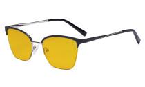 Damen Blaulicht Schutzbrille Halbrand Design mit Bernsteinfarbenem Filter Gläser - Cateye Brillen für Damen Computerbildschirm UV-Strahlenschutz - Blendschutzfilter Reduzieren die Augenbelastung Schwarz - LX19028-BB90