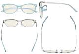 Damen Blaulicht Filterbrille Hollow Design - Cateye Brillen für Damen Computerbildschirm UV-Strahlen schutz - Blendschutzfilter Reduzieren Augenbelastung Blau - LX19025 - BB40