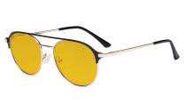 Damen Blaulicht Schutzbrille mit Bernsteinfarbenem Filter Gläser- Doppelte Brücke Polit Design Brille für Damen Computerbildschirm UV-Strahlenschutz - Blendschutzfilter Reduzieren die Augenbelastung Schwarz - LX19027-BB90