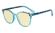 Damen Blaulicht Schutzbrille Blau - mit Gelber Filtergläser - Übergroße Retro Runden Computer Brille Blau - TM9002D