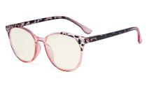 Damen Blaulicht Filterbrille - UV420 Schutz Übergroße Retro Runden Computer Brille Rosarot - UVR9002D