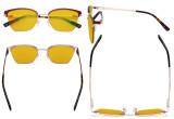 Damen Blaulicht Schutzbrille Halbrand Design mit Bernsteinfarbenem Filter Gläser - Cateye Brillen für Damen Computerbildschirm UV-Strahlenschutz - Blendschutzfilter Reduzieren die Augenbelastung Rot - LX19028-BB90