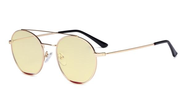 Damen Blaulicht Schutzbrille Gelb getöntem Filter Gläser -Doppelte Brücke Runden Design-Brille für Damen Computerbildschirm UV-Strahlenschutz - Blendschutzfilter Reduzieren die Augenbelastung Gold Rot - LX19029-BB60