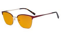 Damen Blaulicht Schutzbrille Halbrand Design mit Orange getöntem Filter Gläser - Cateye Brillen für Damen Computerbildschirm UV-Strahlenschutz - Blendschutzfilter Reduzieren die Augenbelastung Rot - LX19028-BB98