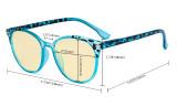 Damen Blaulicht Schutzbrille - mit Gelber Filtergläser - Übergroße Retro Runden Computer Brille Rosarot - TM9002D
