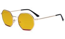 Damen Blaulicht Schutzbrille mit Bernsteinfarbenem Filter Gläser- Polygon Design Brille für Damen Computerbildschirm UV-Strahlen schutz - Blendschutzfilter Reduzieren  Augenbelastung Gold Rot - LX19026-BB90