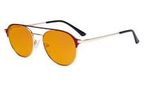 Damen Blaulicht Schutzbrille mit Orange getöntem Filter Gläser- Doppelte Brücke Polit Design Brille für Damen Computerbildschirm UV-Strahlenschutz - Blendschutzfilter Reduzieren die Augenbelastung Rot - LX19027-BB98