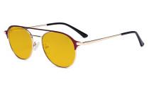 Damen Blaulicht Schutzbrille mit Bernsteinfarbenem Filter Gläser- Doppelte Brücke Polit Design Brille für Damen Computerbildschirm UV-Strahlenschutz - Blendschutzfilter Reduzieren die Augenbelastung Rot - LX19027-BB90