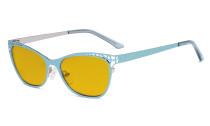 Damen Blaulicht Schutzbrille Hollow Design mit Bernsteinfarbenem Filter Gläser - Cateye Brillen für Damen Computerbildschirm UV-Strahlen schutz - Blendschutzfilter Reduzieren Augenbelastung Blau - LX19025 - BB90
