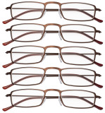 Reading Glasses Lightweight Small Size Rectangle Frame Design for Women Men Brown R15004-5pc