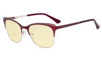Blue Light Glasses - Square Digital Eyeglasses for Women Blocking Computer Screen UV Rays - Anti Glare Filter Reduce Eye Strain Yellow Filter - Red BB60