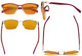Blue Light Glasses - Semi Rimless Digital Eyeglasses for Women Blocking Computer Screen UV Rays - Anti Glare Filter Reduce Eye Strain Yellow Filter - Red LX19043-BB60