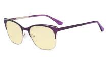Blue Light Glasses - Square Digital Eyeglasses for Women Blocking Computer Screen UV Rays - Anti Glare Filter Reduce Eye Strain Yellow Filter - Purple BB60