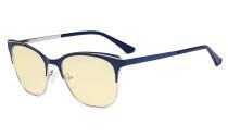 Blue Light Glasses - Square Digital Eyeglasses for Women Blocking Computer Screen UV Rays - Anti Glare Filter Reduce Eye Strain Yellow Filter - Blue BB60