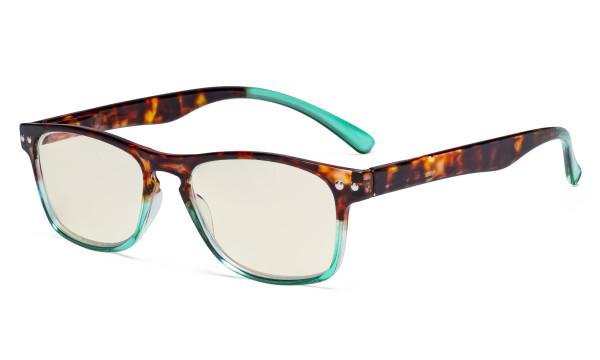 Blue Light Filter Glasses - UV420 Protection Design Computer Eyeglasses for Women Reading Screen - Tortoise/Green UVR046D