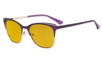 Blue Light Glasses - Square Digital Eyeglasses for Women Blocking Computer Screen UV Rays - Anti Glare Filter Reduce Eye Strain Amber Filter - Purple BB90