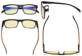 Blue Light Blocking Computer Reading Glasses-Square Nerd Readers with Orange Lens,Pink DSRT1801