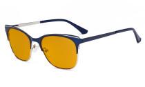 Blue Light Glasses - Square Digital Eyeglasses for Women Blocking Computer Screen UV Rays - Anti Glare Filter Reduce Eye Strain Orange Tinted Filter - Blue BB98