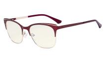 Blue Light Glasses - Square Digital Eyeglasses for Women Blocking Computer Screen UV Rays - Anti Glare Filter Reduce Eye Strain - Red BB40