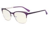 Blue Light Glasses - Square Digital Eyeglasses for Women Blocking Computer Screen UV Rays - Anti Glare Filter Reduce Eye Strain - Purple BB40