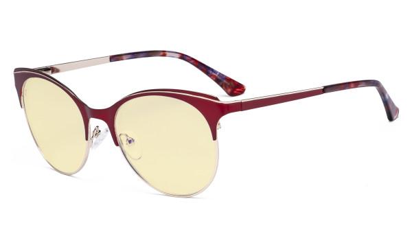 Blue Light Glasses - Digital Eyeglasses for Women Blocking Computer Screen UV Rays - Anti Glare Filter Reduce Eye Strain Cat Eye Design Yellow Filter - Red LX19042-BB60