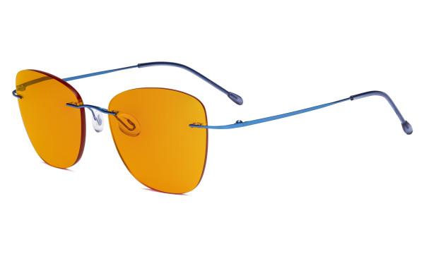 Computer Reading Glasses for Women Blue Light Blocking-Ladies Rimless Oversize Cateye Eyeglasses with Orange Tinted Filter Lens for Nighttime,Blue DSWK9902