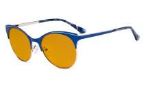 Blue Light Glasses - Digital Eyeglasses for Women Blocking Computer Screen UV Rays - Anti Glare Filter Reduce Eye Strain Cat Eye Design Orange Tinted Filter - Blue LX19042-BB98