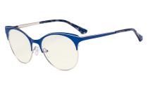 Blue Light Glasses - Digital Eyeglasses for Women Blocking Computer Screen UV Rays - Anti Glare Filter Reduce Eye Strain Cat Eye Design - Blue LX19042-BB40