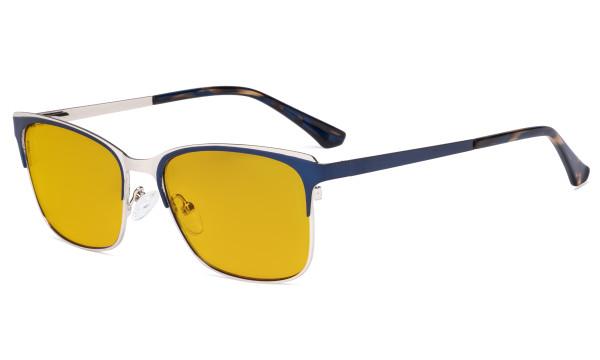 Blue Light Glasses - Design Digital Eyeglasses for Women Blocking Computer Screen UV Rays - Anti Glare Filter Reduce Eye Strain Amber Filter - Blue LX19039-BB90