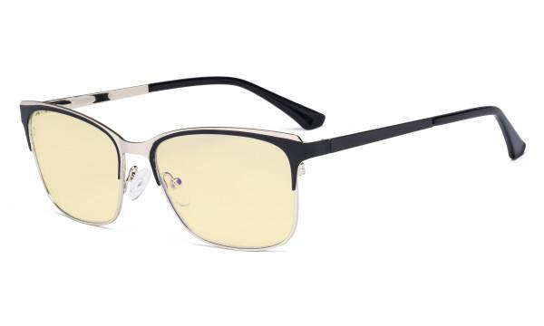 Blue Light Glasses - Design Digital Eyeglasses for Women Blocking Computer Screen UV Rays - Anti Glare Filter Reduce Eye Strain Yellow Filter - Black LX19039-BB60