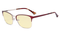 Blue Light Glasses - Design Digital Eyeglasses for Women Blocking Computer Screen UV Rays - Anti Glare Filter Reduce Eye Strain Yellow Filter - Red LX19039-BB60