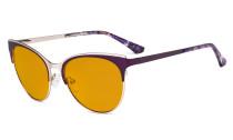 Blue Light Glasses - Cate Eye Digital Eyeglasses for Women Blocking Computer Screen UV Rays - Anti Glare Filter Reduce Eye Strain Orange Tinted Filter - Purple LX19040-BB98