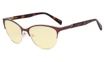 Ladies Cateye Blue Light Filter Glasses - Digital Eyegalsses Blocking Computer Screen UV Rays - Anti Glare Filter Reduce Eye Strain Yellow Filter - Brown LX19038-BB60