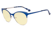Blue Light Glasses - Digital Eyeglasses for Women Blocking Computer Screen UV Rays - Anti Glare Filter Reduce Eye Strain Cat Eye Design Yellow Filter - Blue LX19042-BB60