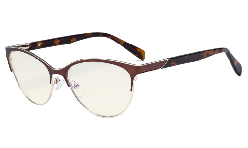 Ladies Cateye Blue Light Filter Glasses - Digital Eyegalsses Blocking Computer Screen UV Rays - Anti Glare Filter Reduce Eye Strain - Brown LX19038-BB40
