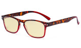 Blue Light Blocking Glasses with Yellow Tinted Filter Lens - Design Computer Eyeglasses Women - Tortoise/Red TM046D