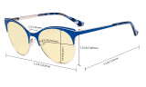 Blue Light Blocking Glasses with Yellow Tinted Filter Lens - Design Computer Eyeglasses Women - Tortoise/Blue TM046D