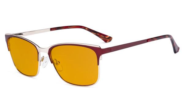 Blue Light Glasses - Design Digital Eyeglasses for Women Blocking Computer Screen UV Rays - Anti Glare Filter Reduce Eye Strain Orange Tinted Filter - Red LX19039-BB98