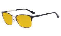 Blue Light Glasses - Design Digital Eyeglasses for Women Blocking Computer Screen UV Rays - Anti Glare Filter Reduce Eye Strain Amber Filter - Black LX19039-BB90