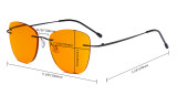 Blue Light Blocking Computer Reading Glasses-Square Nerd Readers with Orange Lens,Blue DSRT1801