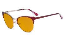 Blue Light Glasses - Cate Eye Digital Eyeglasses for Women Blocking Computer Screen UV Rays - Anti Glare Filter Reduce Eye Strain Orange Tinted Filter - Red LX19040-BB98