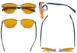 Computer Reading Glasses for Women Blue Light Blocking-Ladies Rimless Oversize Cateye Eyeglasses with Orange Tinted Filter Lens for Nighttime,Gunmetal DSWK9902