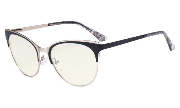 Blue Light Glasses - Cate Eye Digital Eyeglasses for Women Blocking Computer Screen UV Rays - Anti Glare Filter Reduce Eye Strain - Black LX19040-BB40