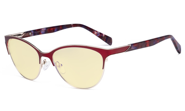Ladies Cateye Blue Light Filter Glasses - Digital Eyegalsses Blocking Computer Screen UV Rays - Anti Glare Filter Reduce Eye Strain Yellow Filter - Red LX19038-BB60