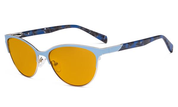 Ladies Cateye Blue Light Filter Glasses - Digital Eyegalsses Blocking Computer Screen UV Rays - Anti Glare Filter Reduce Eye Strain Orange Tinted Filter - Blue LX19038-BB98