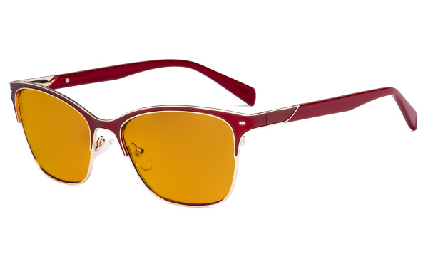 Ladies Blue Light Glasses - Digital Eyeglasses for Women Blocking Computer Screen UV Rays - Anti Glare Reduce Eye Strain Orange Tinted Filter - Red LX19037-BB98